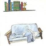 Bookshelf and Futon by Winston Hearn