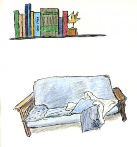 Bookshelf and Futon by Winston Hearn