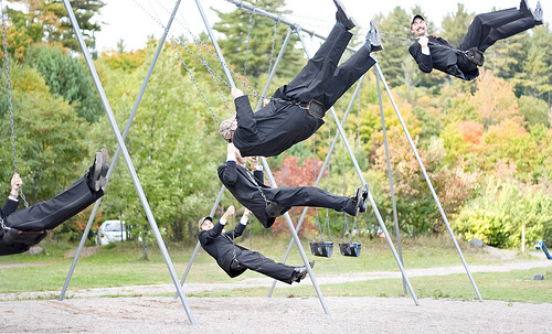 Groomsmen Swinging by Billy Wilson