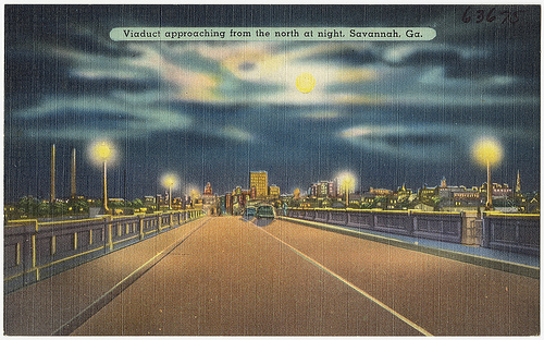 Viaduct, approaching from the north at night, Savannah, GA. (19301945). Boston Public Library